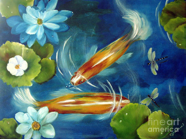 Koi Print featuring the painting Bubble Maker by Carol Sweetwood