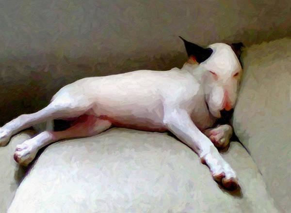 English Bull Terrier Art Print featuring the digital art Bull Terrier Sleeping by Michael Tompsett