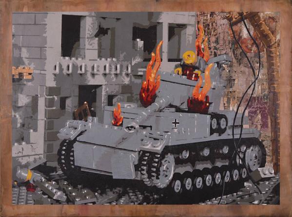 Lego Art Print featuring the painting Burning Panzer Iv by Josh Bernstein