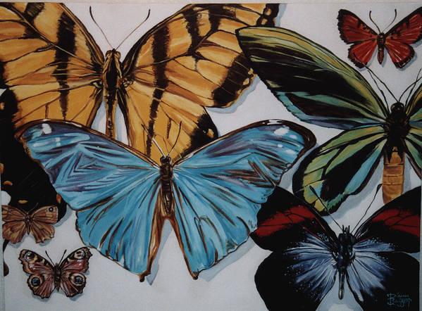 Butterflies Art Print featuring the painting Butterflies by Diann Baggett