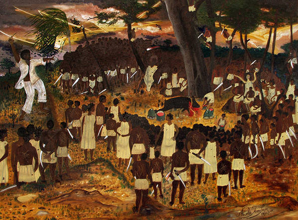 Bwa Kayiman Haiti 1791 Print featuring the painting Bwa Kayiman Haiti 1791 by Nicole Jean-Louis