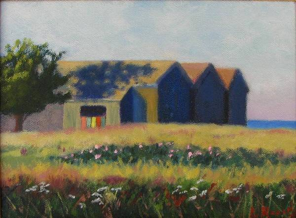 Cabanas Art Print featuring the painting Cabanas At Jetty Beach by Laura Roberts