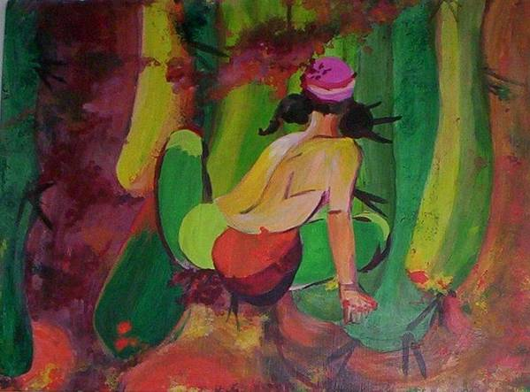 Figurative Painting Of Woman In An Abstracted Field Of Cacti. Rendered In Pinks Art Print featuring the painting Cactus Woman by Georgia Annwell