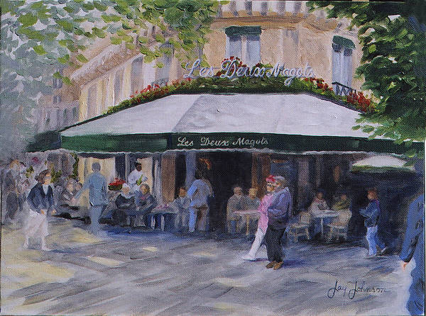 Cafe Magots Art Print featuring the painting Cafe Magots by Jay Johnson