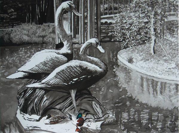 Landscape Art Print featuring the painting Callaway Mallard Ducks by Beth Parrish