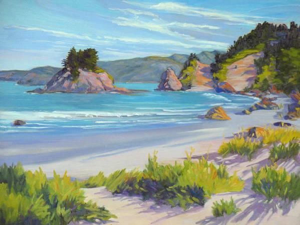 California Coast Art Print featuring the painting Calm Ocean Waters by Rhett Regina Owings