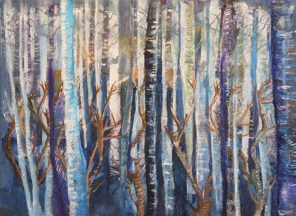 Birch Trees Art Print featuring the painting Can't See The Forest by Pam Halliburton