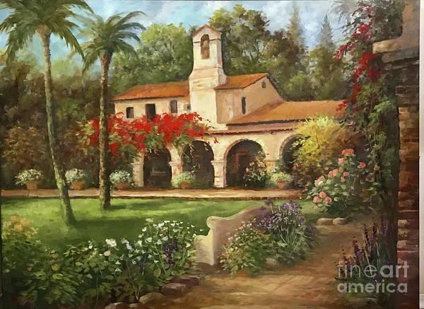 San Juan Capistrano Art Print featuring the painting Capistrano Courtyard by Gail Salituri