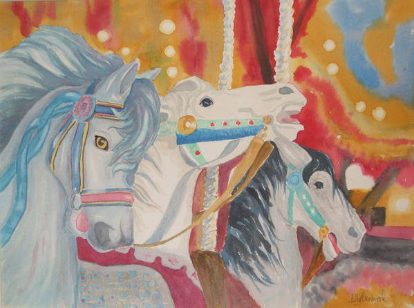 Carousel Art Print featuring the painting Carousel 1 by Ally Benbrook