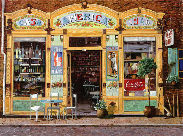 Coffe Shop Art Print featuring the painting Casa America by Guido Borelli