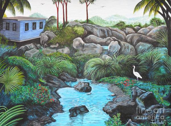 Tropical Home In The Carribean. Carribean Landscape Art Print featuring the painting Casa Tropical by Juan Gonzalez