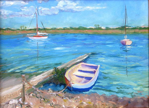 Seascape Art Print featuring the painting Castaway by Pamela Geiger