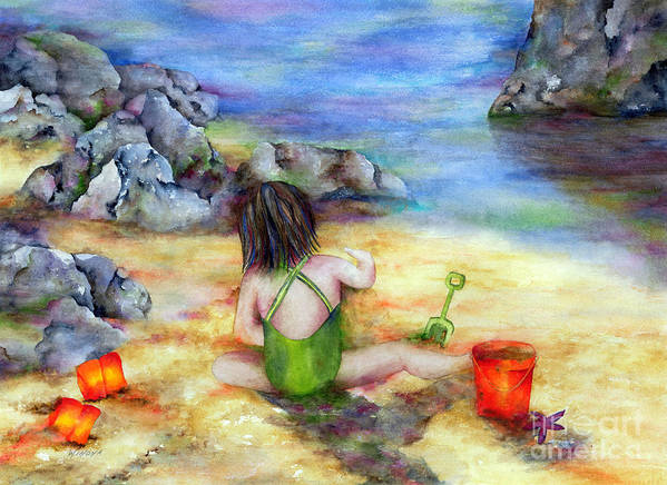 Child Art Print featuring the painting Castles In The Sand by Winona Steunenberg
