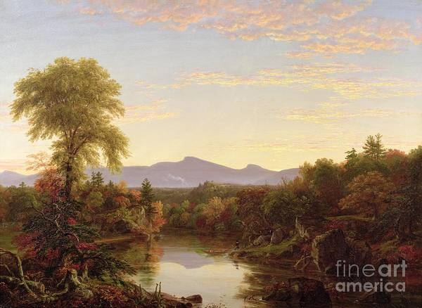View; River; Autumnal; Autumn; Boat; Fall; Sunset; Catskills; American Landscape; Mountains; New England; Hudson River School; Catskills Art Print featuring the painting Catskill Creek - New York by Thomas Cole