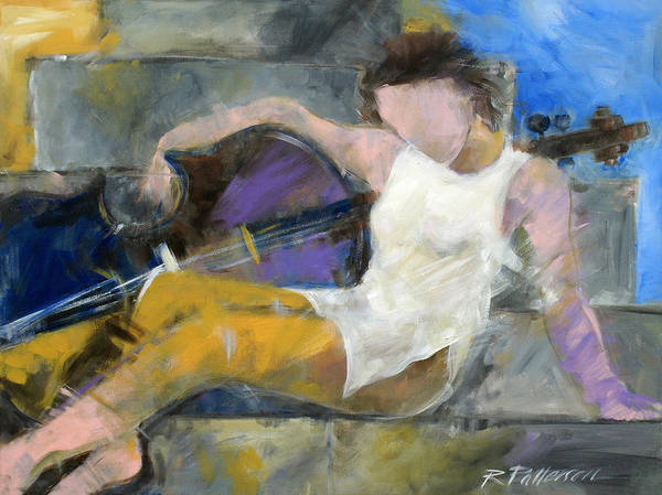 Figurative Art Print featuring the painting Cello Walking by Ron Patterson