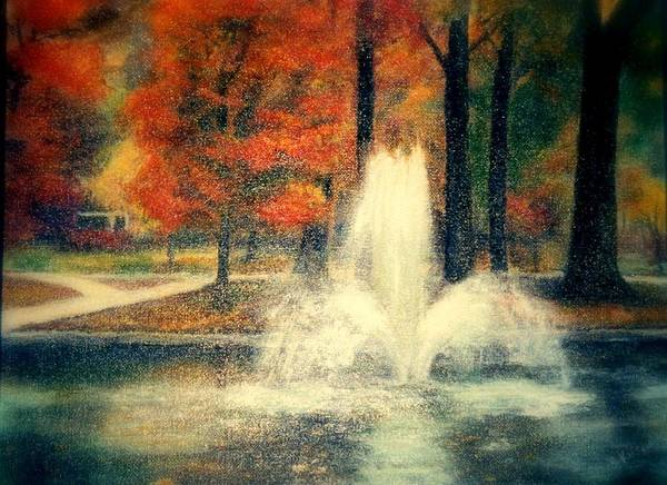 Pond Art Print featuring the painting Central Park In Autumn by Gail Kirtz