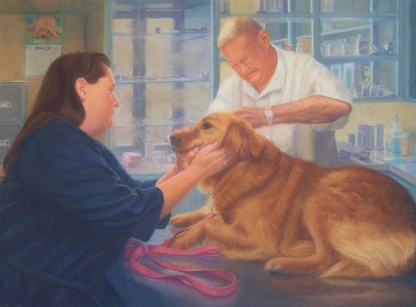 Charlie Art Print featuring the painting Charlie And The Vet by Diane Caudle