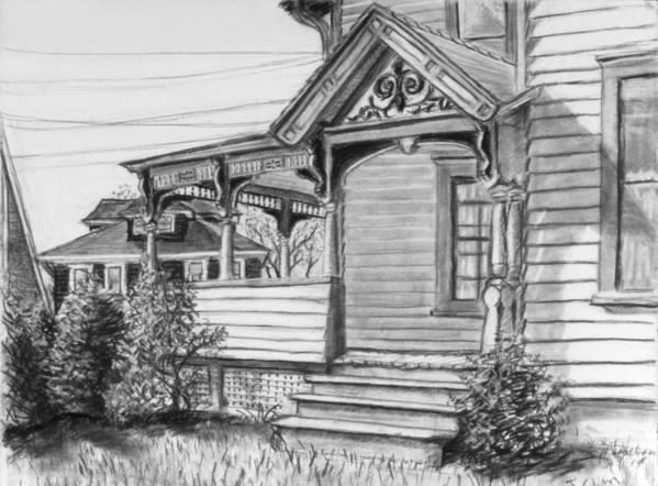 House Art Print featuring the drawing Chenango Street Binghamton Ny by John Clum