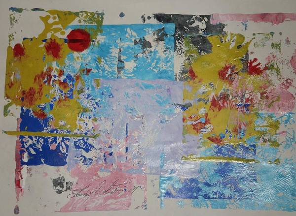 Abstract Art Print featuring the painting Cherry Trees In My Front Yard by Edward Wolverton