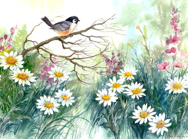 Chickadee;birds;daisies;floral;watercolor Painting; Art Print featuring the painting Chickadee And Daisies by Lois Mountz