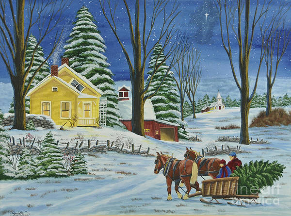 Winter Scene Paintings Art Print featuring the painting Christmas Eve In The Country by Charlotte Blanchard