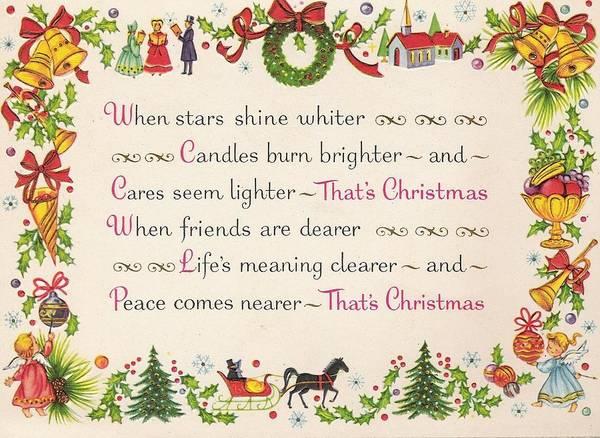 Christmas Greetings 948 - Vintage Chrisrtmas Cards - Christmas Quotes Art  Print