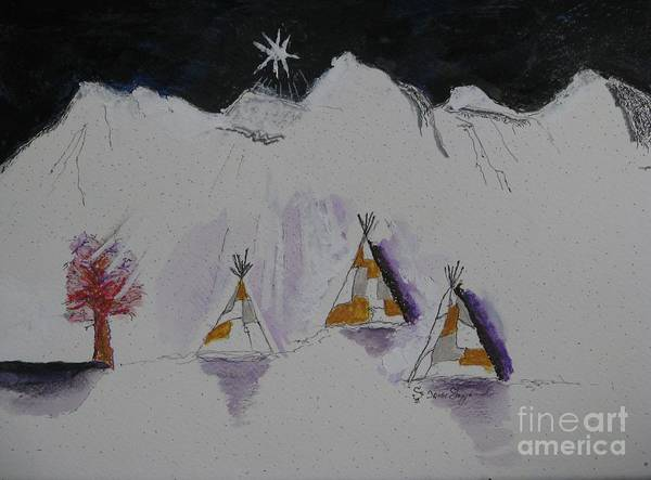 Christmas Star Art Print featuring the mixed media Christmas Teepees by James SheppardIII