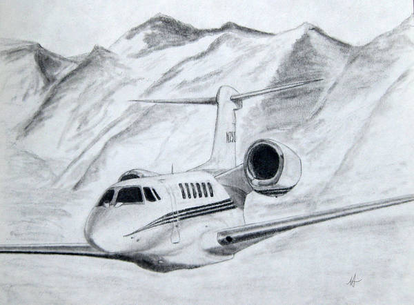 Airplane Art Print featuring the drawing Citation X by Nicholas Linehan