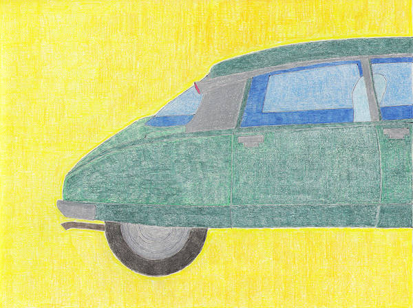 Citroen Art Print featuring the drawing Citroen Ds by Eric Forster