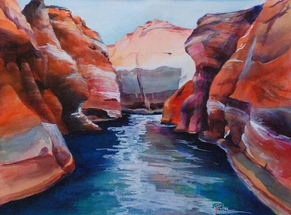 Seacape Art Print featuring the painting Cliff Tapestries by Donna Pierce-Clark