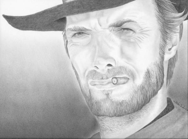 Clint Art Print featuring the drawing Clint by Christopher Brooks
