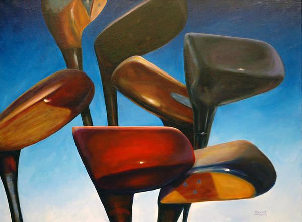 Golf Clubs Brown Art Print featuring the painting Clubs Rising by Shannon Grissom