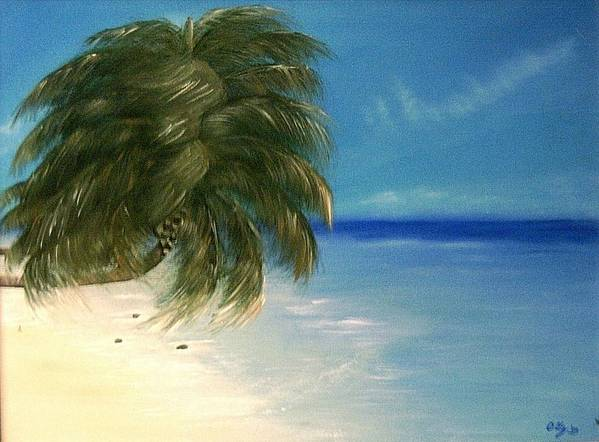 Seascape Art Print featuring the painting Coconuts And Palm Trees by Ofelia Uz