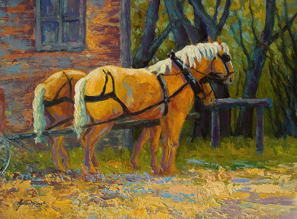 Horses Art Print featuring the painting Coffee Break - Draft Horse Team by Marion Rose