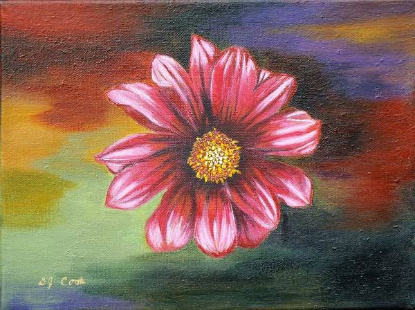 Daisy Art Print featuring the painting Color Explosion by Donna Cook