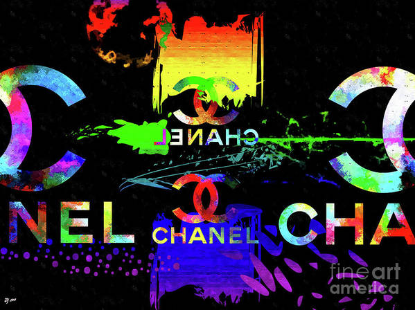 Colorful Chanel Art Art Print featuring the mixed media Colorful Chanel Art by Daniel Janda