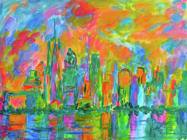 New York Prints For Sale Art Print featuring the painting Coloring The Big Apple Stage One by Kendall Kessler