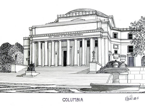 Columbia University Pen And Ink Drawings Art Print featuring the drawing Columbia by Frederic Kohli