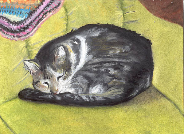 Oil Pastel Art Print featuring the painting Comfortable Cat by Pamela Wilson