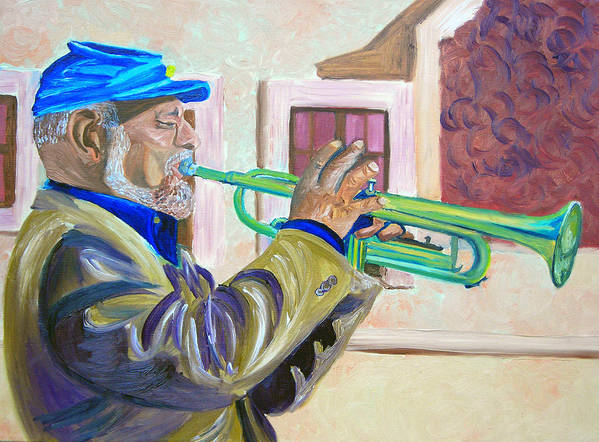 Street Musician Art Print featuring the painting Confederate Bugular by Michael Lee