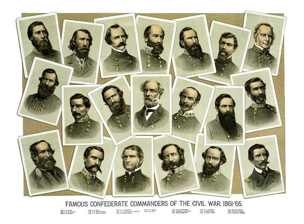 Civil War Art Print featuring the painting Confederate Commanders Of The Civil War by War Is Hell Store