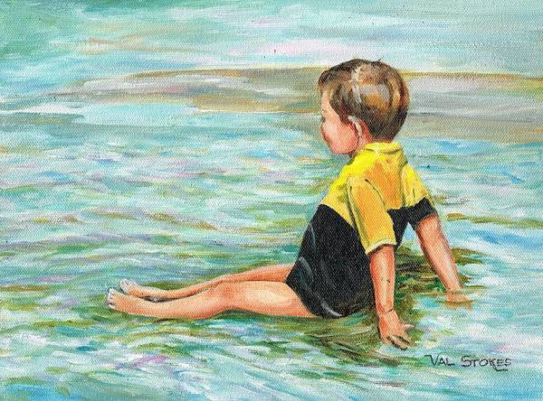 Sea Art Print featuring the painting Cooling Off by Val Stokes