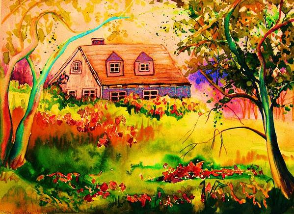Maine Countryscene Art Print featuring the painting Cottage In Maine by Carole Spandau