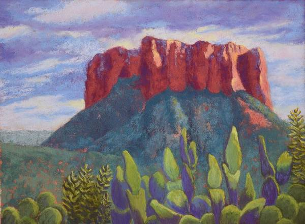 Sedona Art Print featuring the painting Courthouse Rock by Nancy Jolley