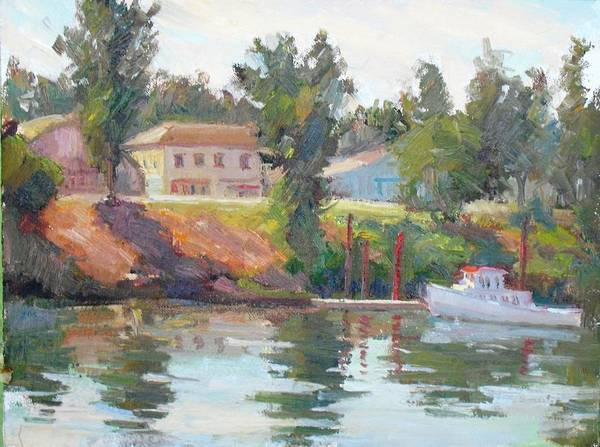 River Art Print featuring the painting Courtland View by Patris M