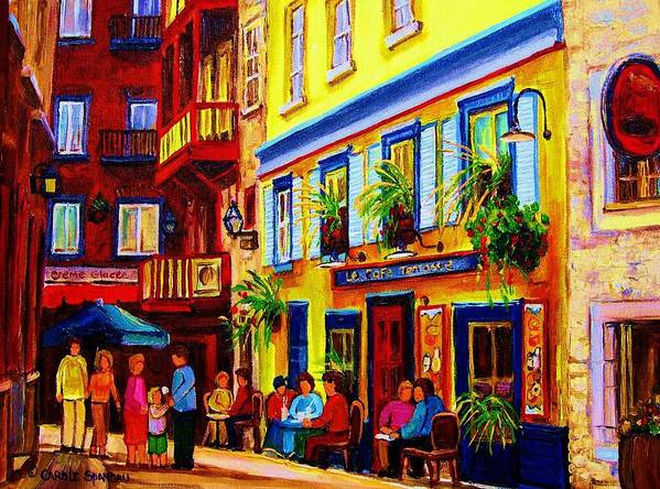 Courtyard Cafes Art Print featuring the painting Courtyard Cafes by Carole Spandau
