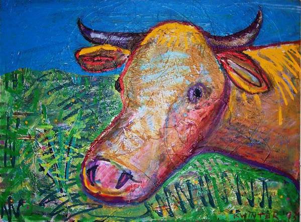 Cow Art Print featuring the mixed media Cow by Dave Kwinter