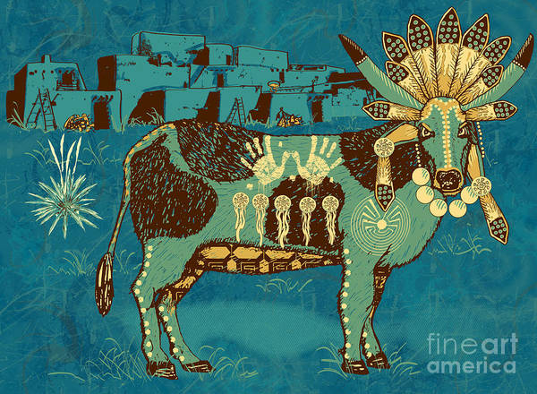 Native Print featuring the digital art Cowchina by Laura Brightwood