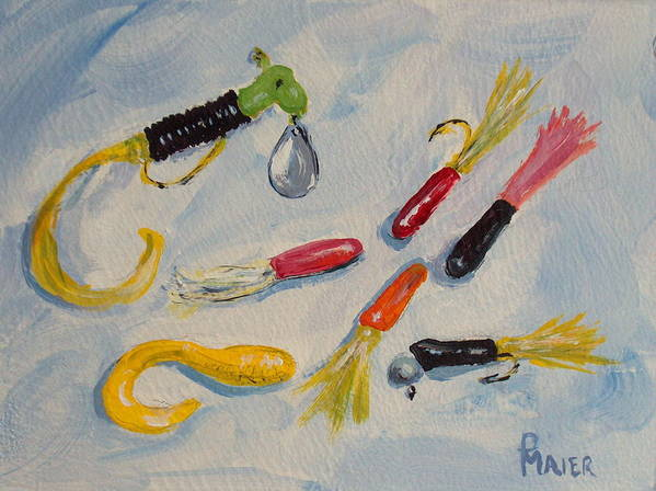 Fishing Art Print featuring the painting Crappie Lures by Pete Maier