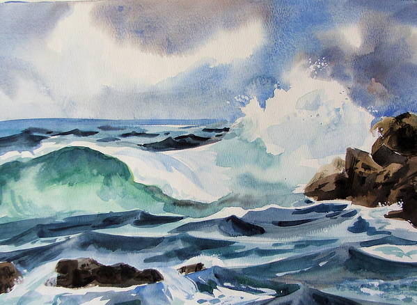 Ocean Art Print featuring the painting Crashing Wave by Dianna Willman